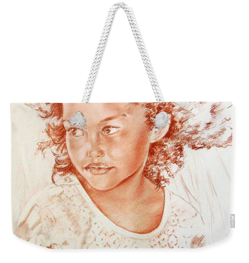 Drawing Persons Weekender Tote Bag featuring the painting Tahitian Girl by Miki De Goodaboom
