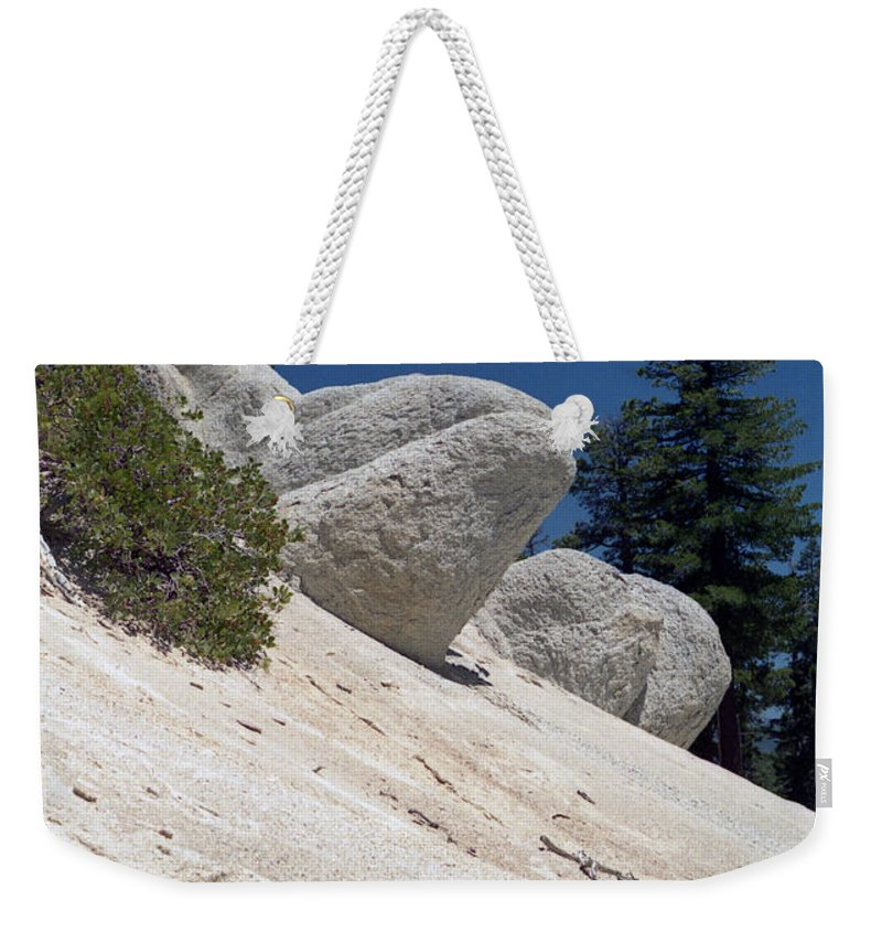 Abstract Weekender Tote Bag featuring the photograph Tahoe Rocks by Richard Rizzo