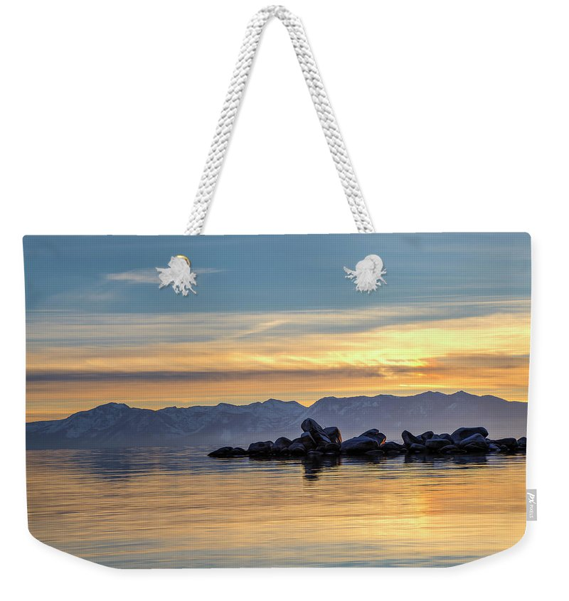 Lake Weekender Tote Bag featuring the photograph Tahoe Sunset by Soroush Mostafanejad