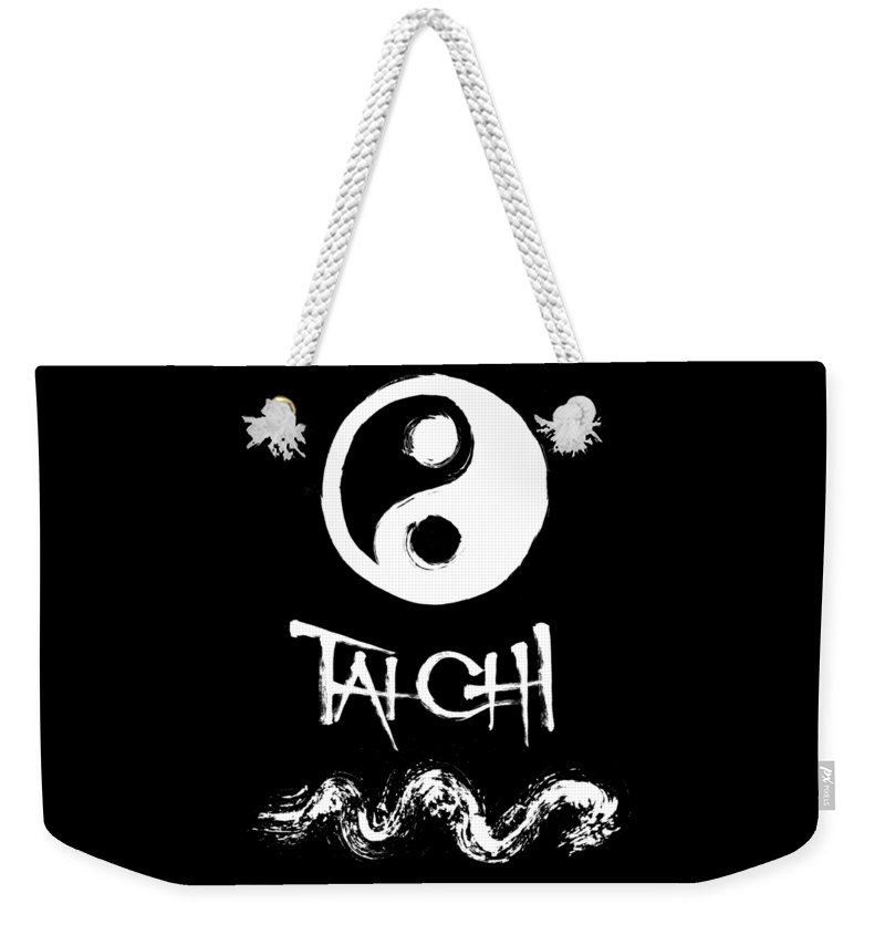 Tai Chi Weekender Tote Bag featuring the painting Tai Chi Black by Peter Cutler