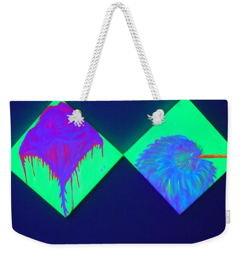 Tailed Flower Weekender Tote Bag featuring the painting Tailed Flower And Kiwi by Tania Stefania Katzouraki
