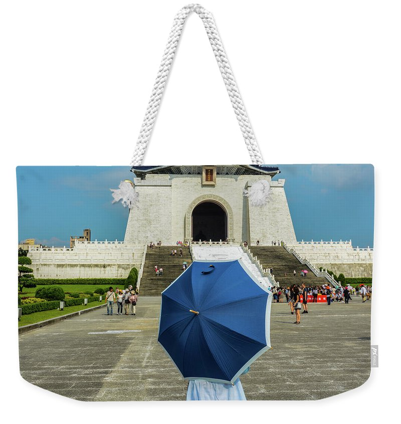 Taipei; Operahouse; Opera; Lady; Woman; Sunshine; Umbrella; Taiwan Weekender Tote Bag featuring the photograph Taipei Lady Umbrella by John Lillis