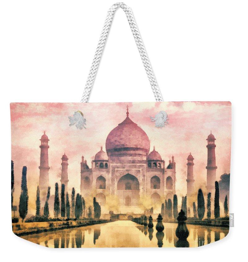 Taj Mahal Weekender Tote Bag featuring the painting Taj Mahal by Mo T