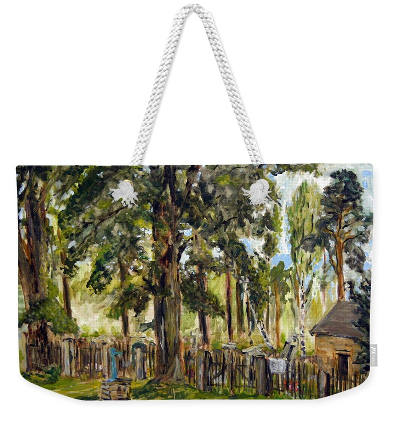 Landscape Weekender Tote Bag featuring the painting Tajny Hrbitov by Pablo de Choros