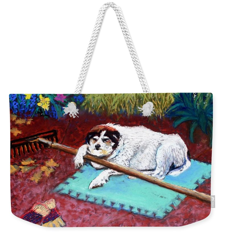 Dog Weekender Tote Bag featuring the painting Take A Break by Minaz Jantz