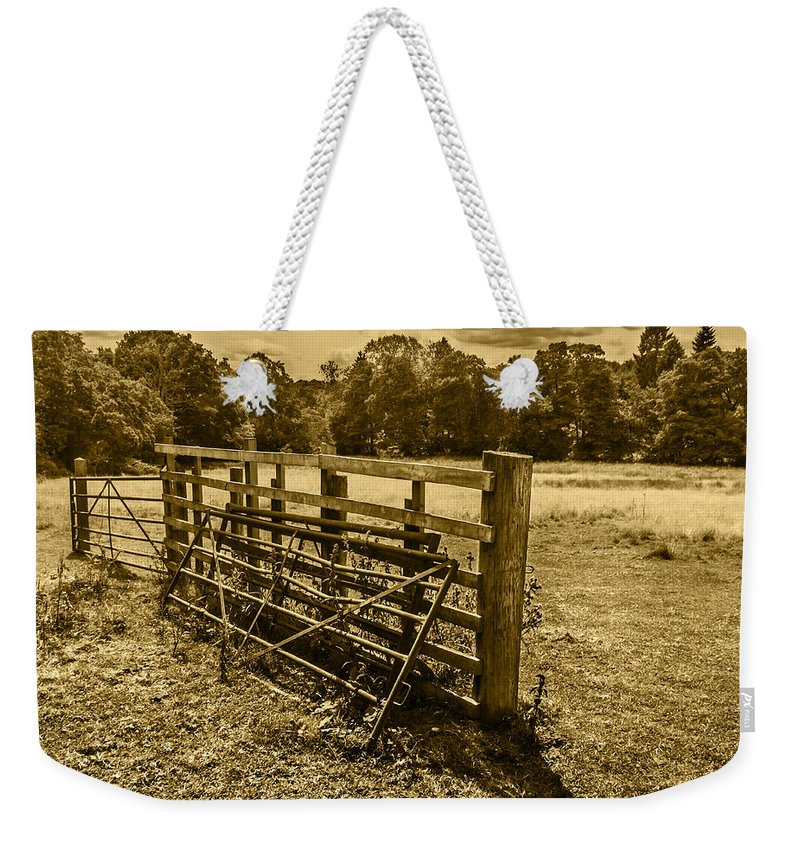Landscape Weekender Tote Bag featuring the photograph Take A Fence by Nick Bywater