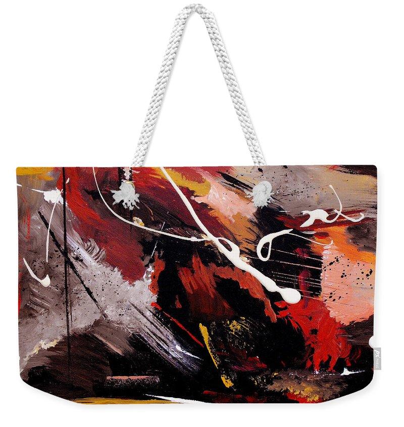 Abstract Weekender Tote Bag featuring the painting Take To Heart by Ruth Palmer