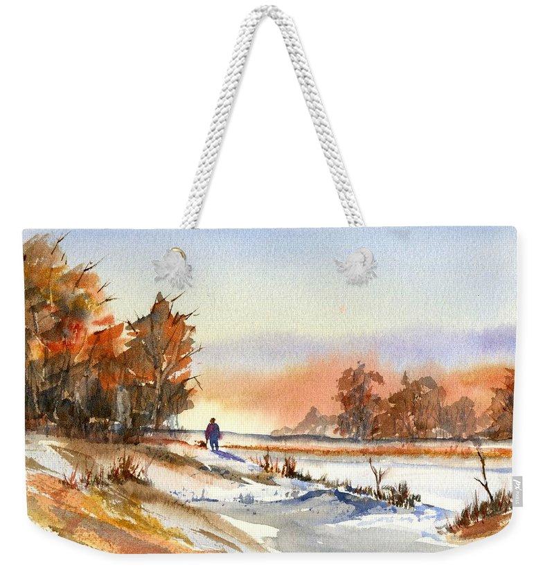 Peaceful Weekender Tote Bag featuring the painting Taking A Walk by Debbie Lewis