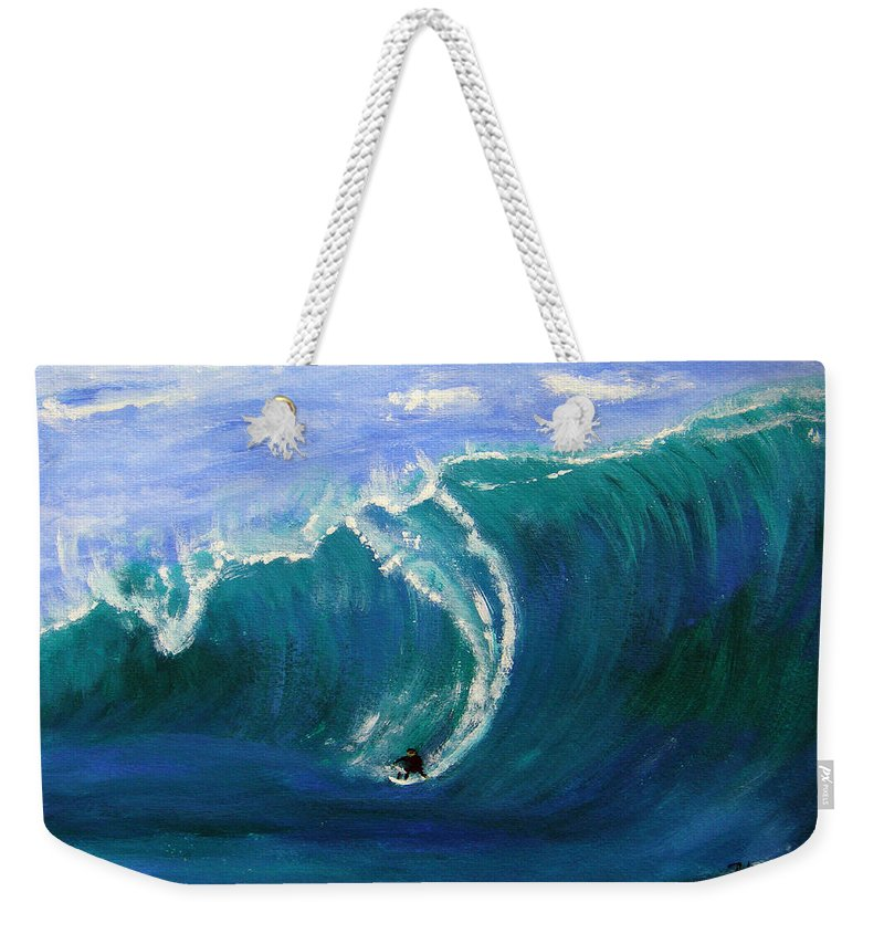 Surf Weekender Tote Bag featuring the painting Taking The Drop by Donna Blackhall