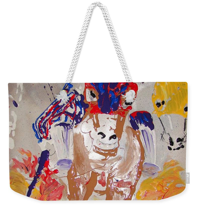 Horse Weekender Tote Bag featuring the mixed media Taking The Lead by J R Seymour