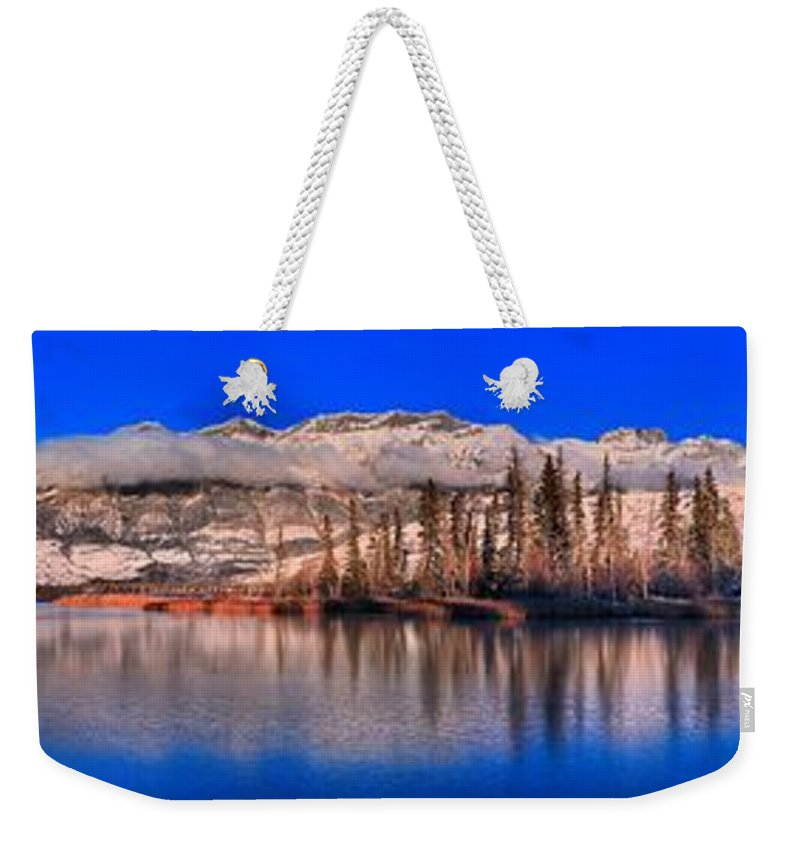Talbot Lake Weekender Tote Bag featuring the photograph Talbot Lake Afernoon Panorama by Adam Jewell