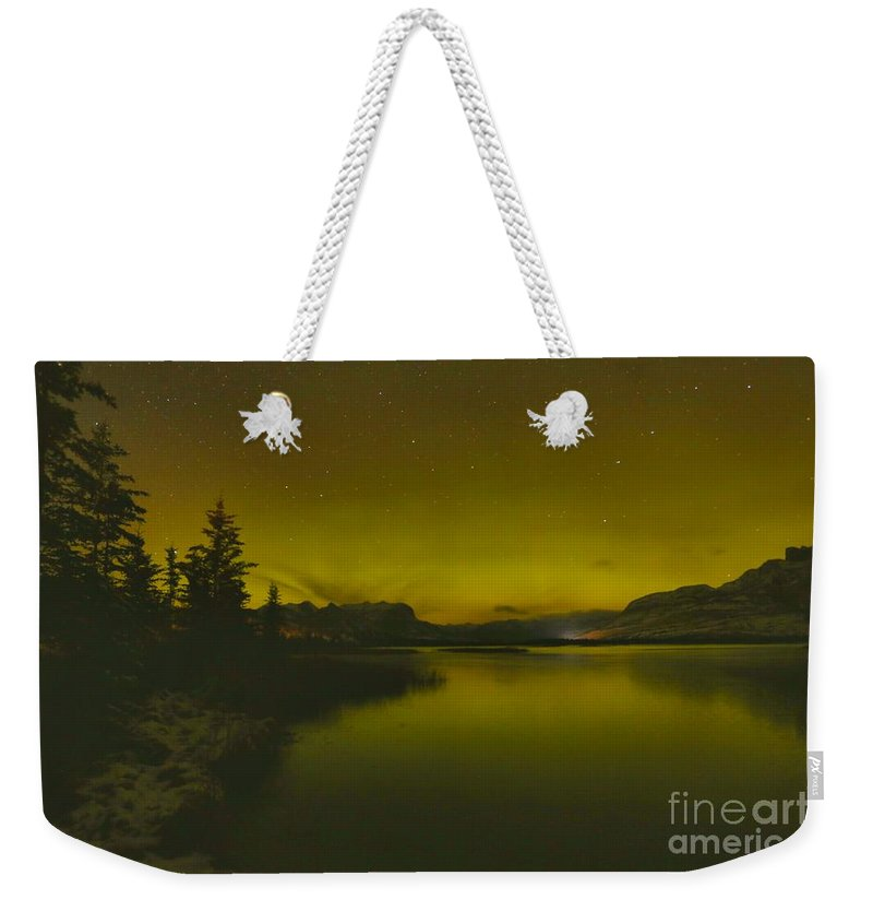 Northern Lights Weekender Tote Bag featuring the photograph Talbot Lake Northern Lights by Adam Jewell