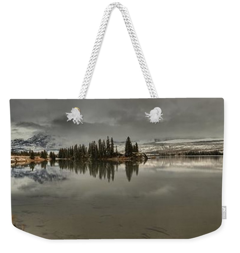 Talbot Lake Weekender Tote Bag featuring the photograph Talbot Lake Stormy Panorama by Adam Jewell