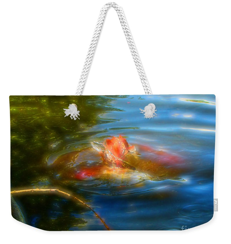 Koi Weekender Tote Bag featuring the photograph Tale Of The Wild Koi 2 by September Stone