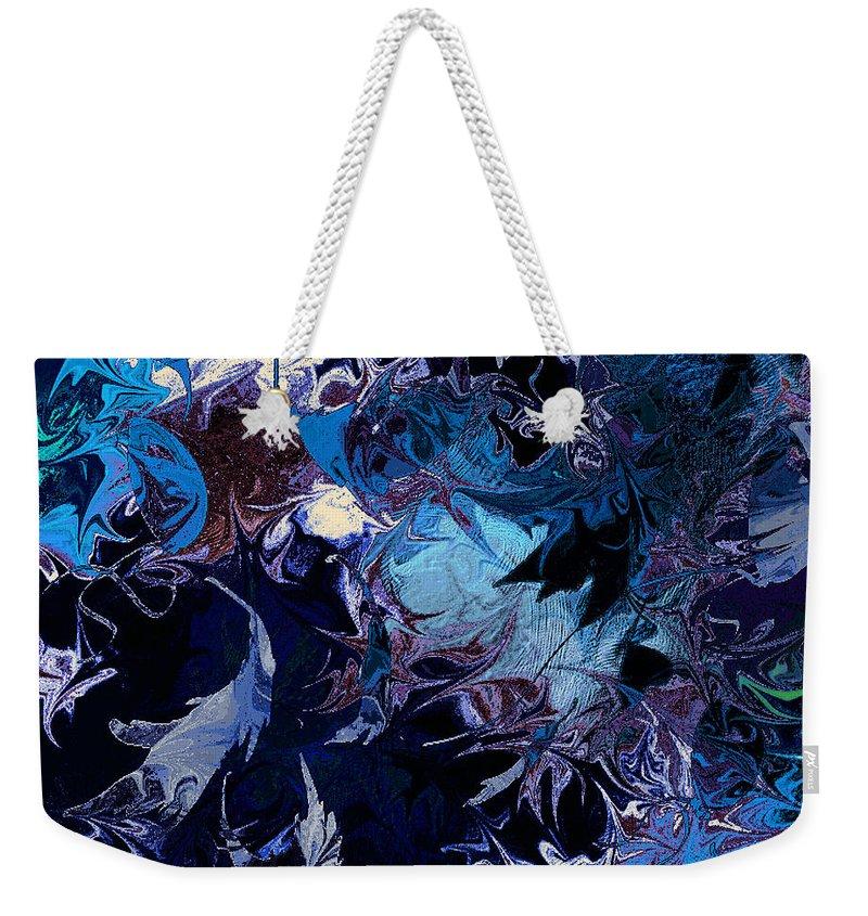 Abstract Weekender Tote Bag featuring the digital art Tales In A Moonlit Wood by Rachel Christine Nowicki