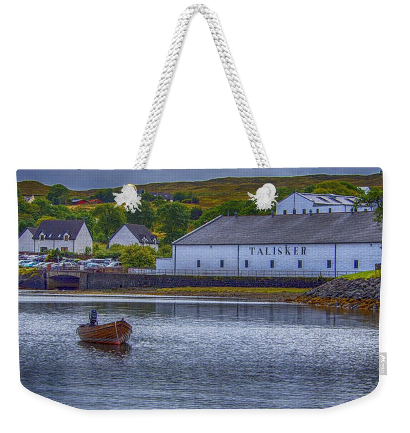 Talisker Distillery Weekender Tote Bag featuring the photograph Talisker Isle Of Skye by Chris Thaxter