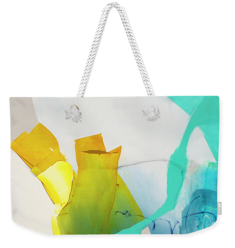 Abstract Weekender Tote Bag featuring the painting Talking To Myself by Claire Desjardins