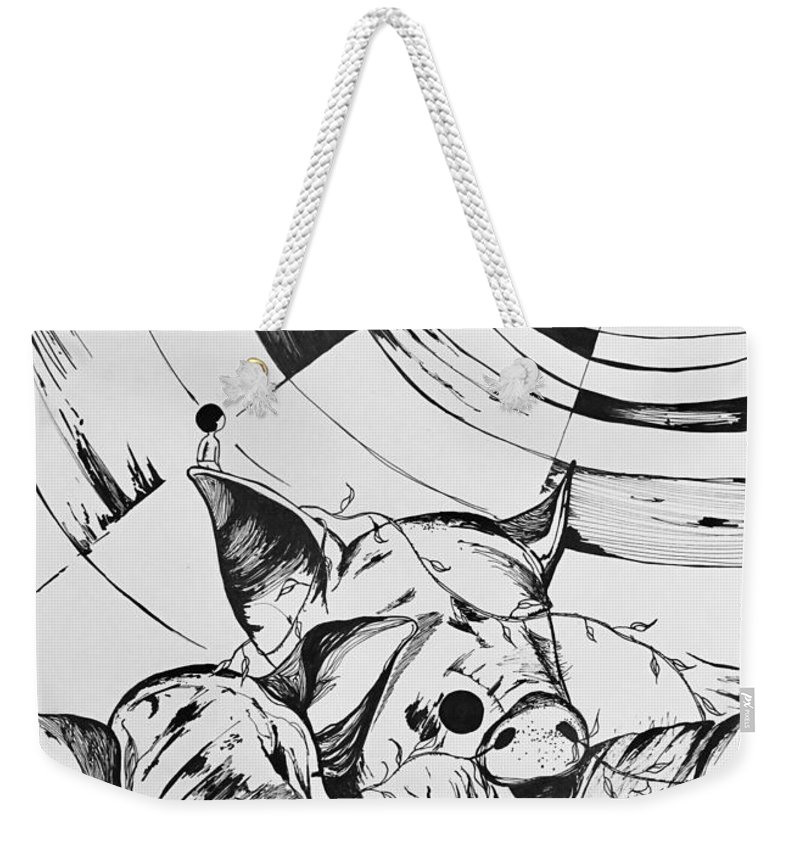 Pigs Weekender Tote Bag featuring the drawing Talking To The Moon by Leilei Mo