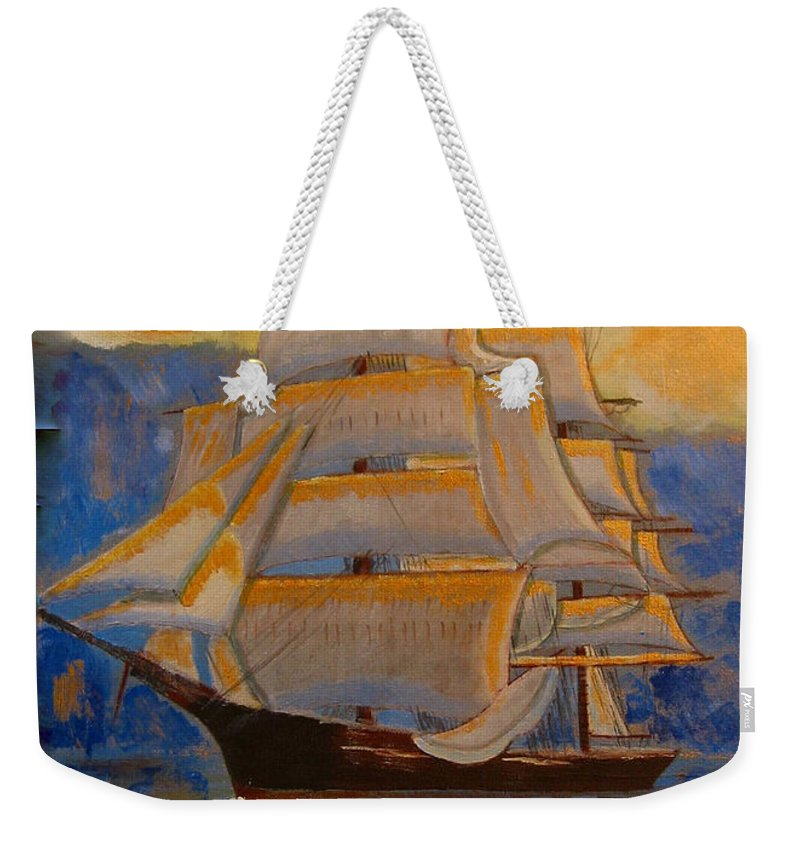 Tall Ship Weekender Tote Bag featuring the painting Tall Ship In The Sunset by Richard Le Page