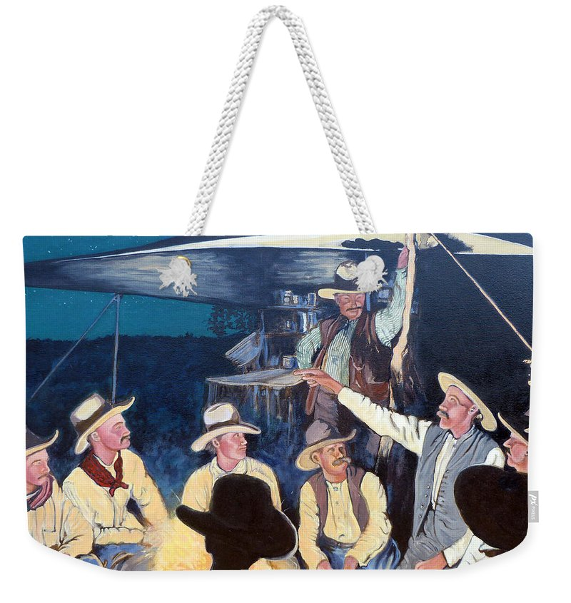 Tall Tale Weekender Tote Bag featuring the painting Tall Tale by Tom Roderick