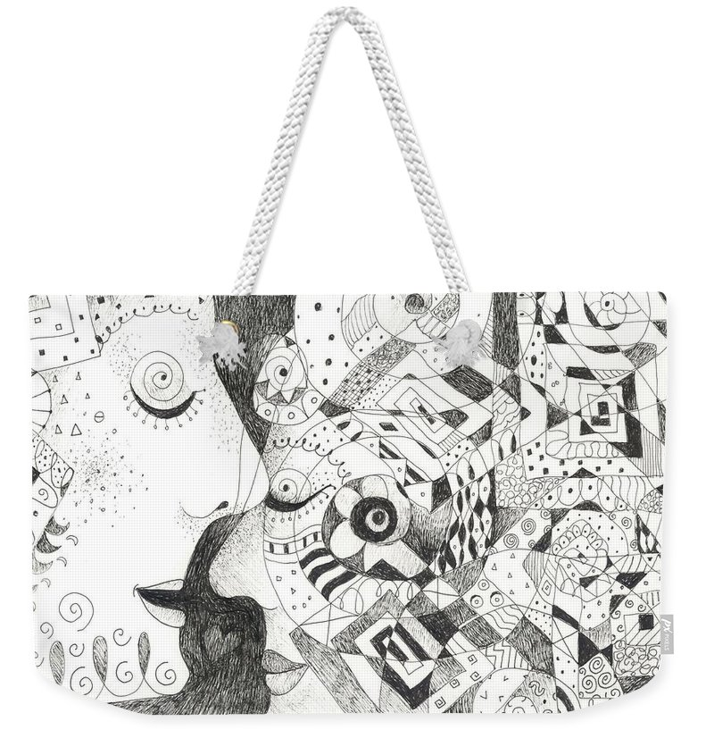 Relationship Weekender Tote Bag featuring the drawing Tall Tales by Helena Tiainen