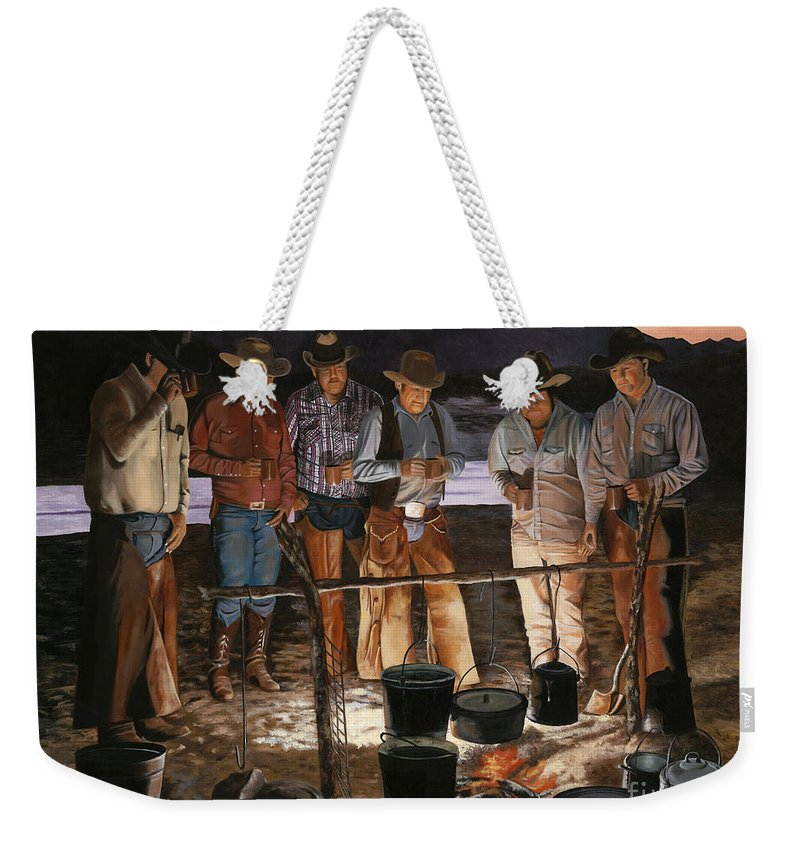 Arizona Weekender Tote Bag featuring the painting Tall Tales by Mary Rogers
