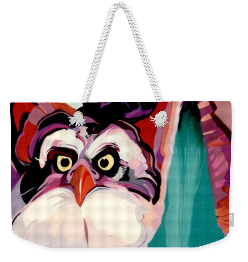 Raptor Weekender Tote Bag featuring the painting Talons Down by Marlene Burns