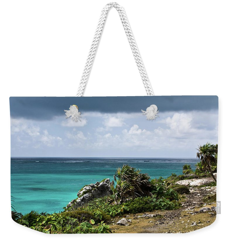 Tulum Ruins Weekender Tote Bag featuring the photograph Talum Ruins Mexico Ocean View by Douglas Barnett