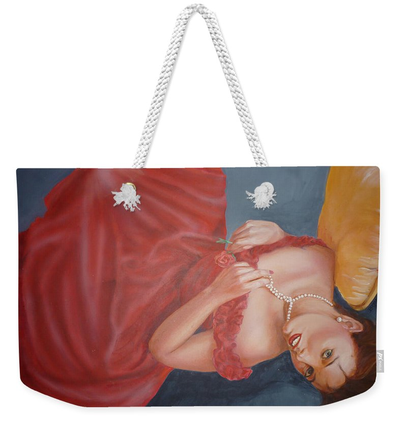 Romantic Weekender Tote Bag featuring the painting Tammy by Bryan Bustard