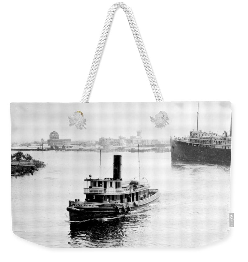 tampa Florida Weekender Tote Bag featuring the photograph Tampa Florida - Harbor - C 1926 by International Images