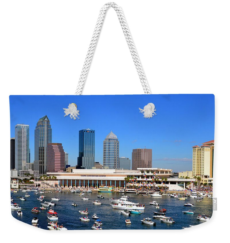 Tampa Florida Weekender Tote Bag featuring the photograph Tampa's Day Panoramic by David Lee Thompson