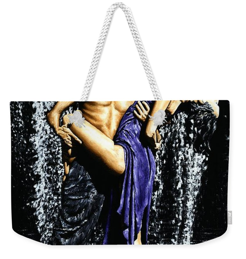 Tango Weekender Tote Bag featuring the painting Tango Cascade by Richard Young