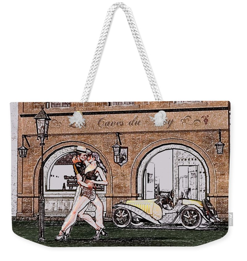 Tango Weekender Tote Bag featuring the digital art Tango dancers in the street by John Junek