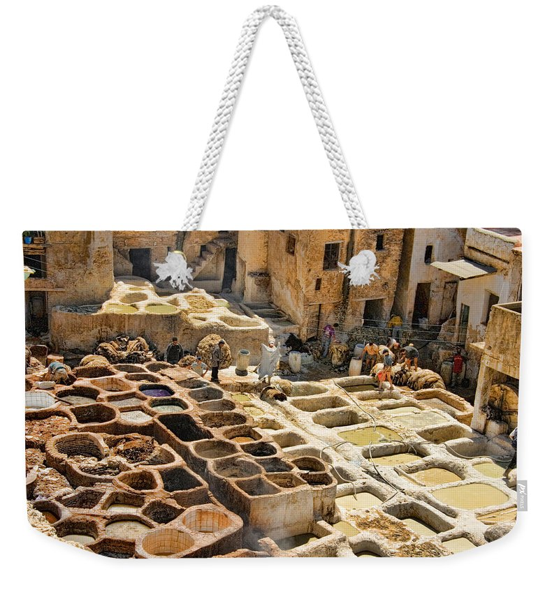 Fes Weekender Tote Bag featuring the photograph Tanneries Of Fes Morroco by David Smith