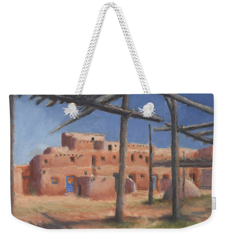 Taos Weekender Tote Bag featuring the painting Taos Pueblo by Jerry McElroy