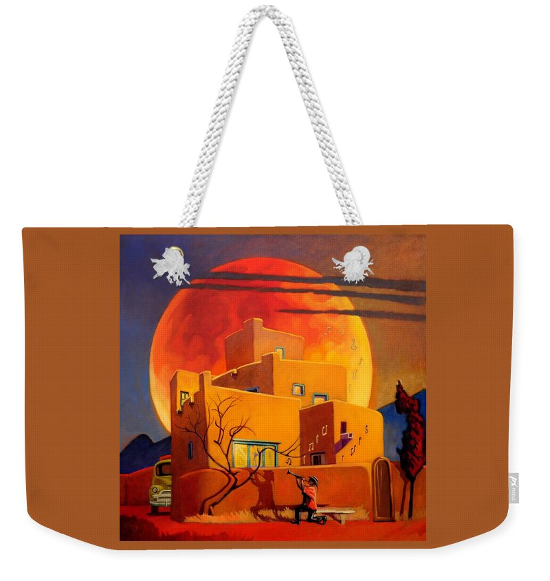 Rare Weekender Tote Bag featuring the painting Taos Wolf Moon by Art West