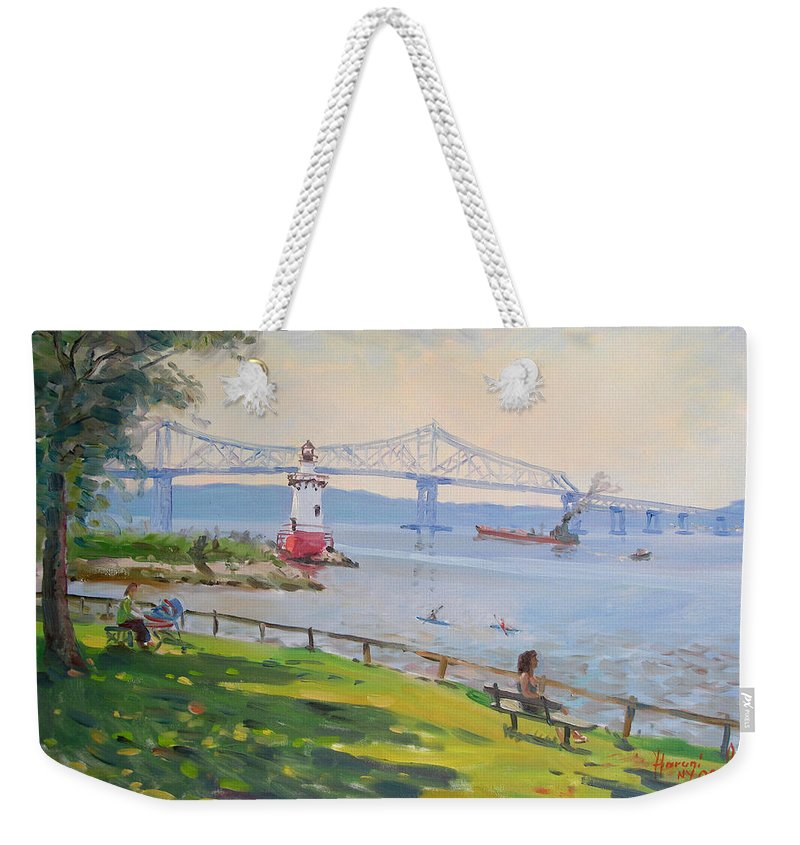 Tappan Zee Bridge And Light House Weekender Tote Bag featuring the painting Tappan Zee Bridge And Light House by Ylli Haruni