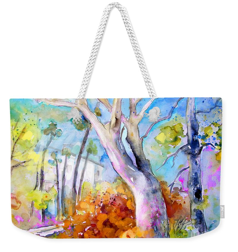Tarbes Weekender Tote Bag featuring the painting Tarbes 02 by Miki De Goodaboom