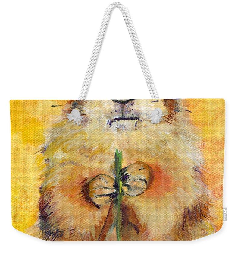 Prairie Dog Painting Weekender Tote Bag featuring the painting Target by Pat Saunders-White