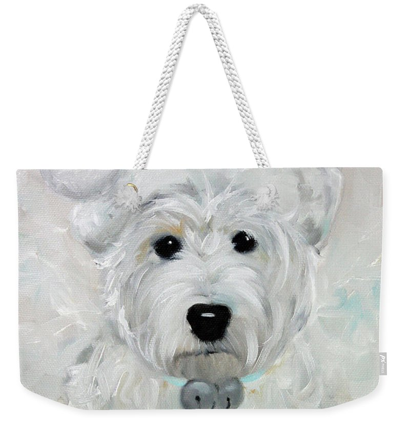 Westie Weekender Tote Bag featuring the painting Tarheel Santa by Mary Sparrow