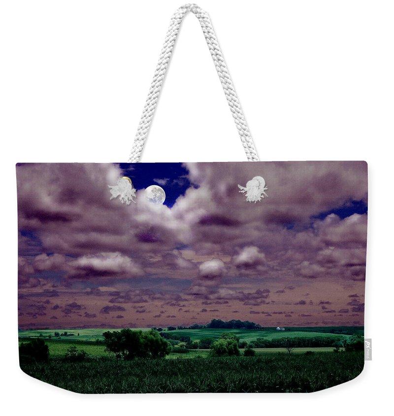Landscape Weekender Tote Bag featuring the photograph Tarkio Moon by Steve Karol