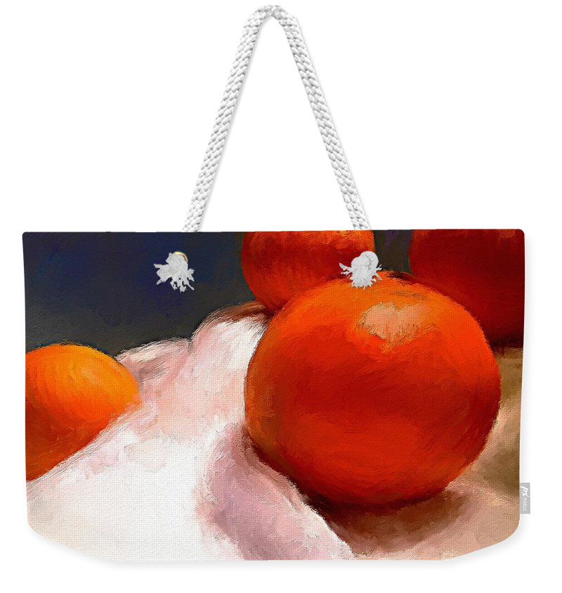 Orange Weekender Tote Bag featuring the painting Tasting Citrus by Mia Hansen