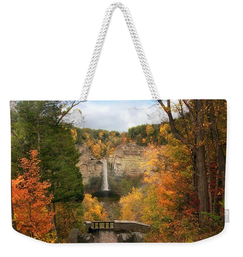 Nature Weekender Tote Bag featuring the photograph Taughannock Falls Splendor by Jessica Jenney