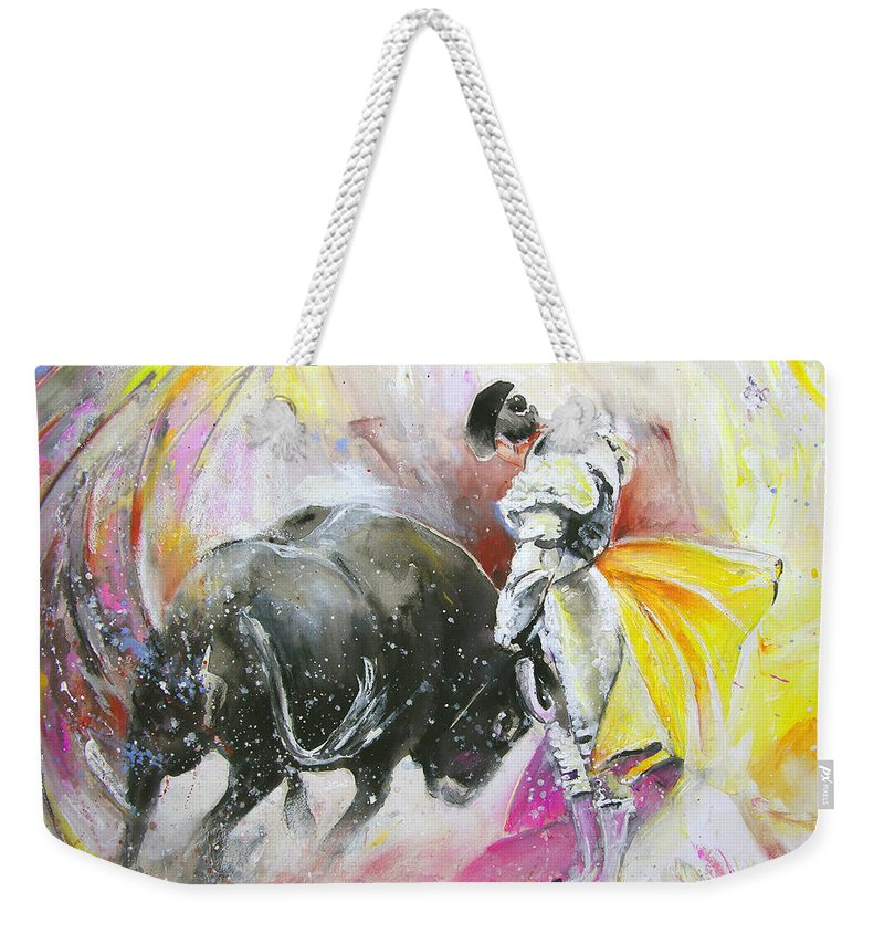 Animals Weekender Tote Bag featuring the painting Taurean Power by Miki De Goodaboom