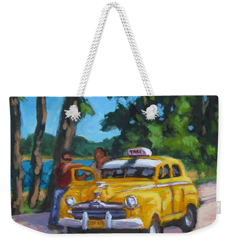 Old Cars Weekender Tote Bag featuring the painting Taxi Y Amigos by John Malone