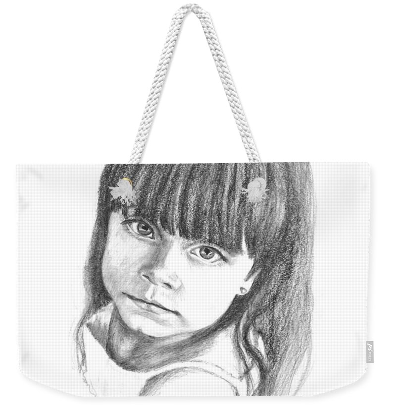 Drawing Weekender Tote Bag featuring the drawing Taylor by Keith Burgess