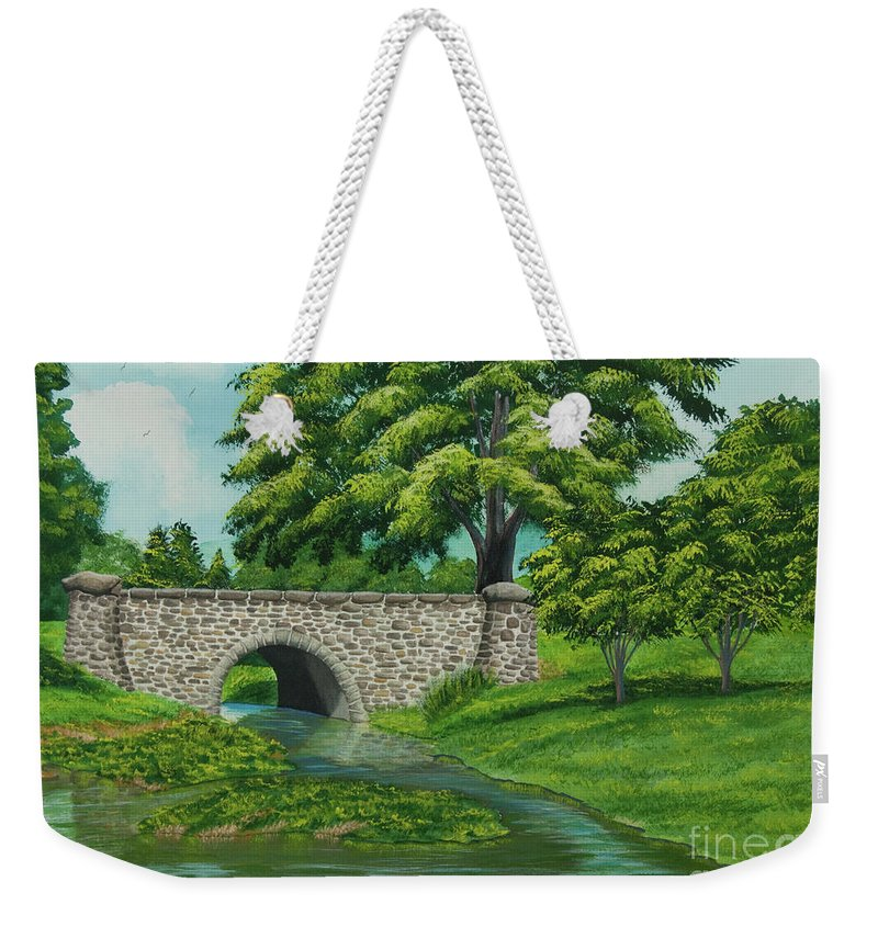Colgate University Taylor Lake Weekender Tote Bag featuring the painting Taylor Lake Stone Bridge by Charlotte Blanchard