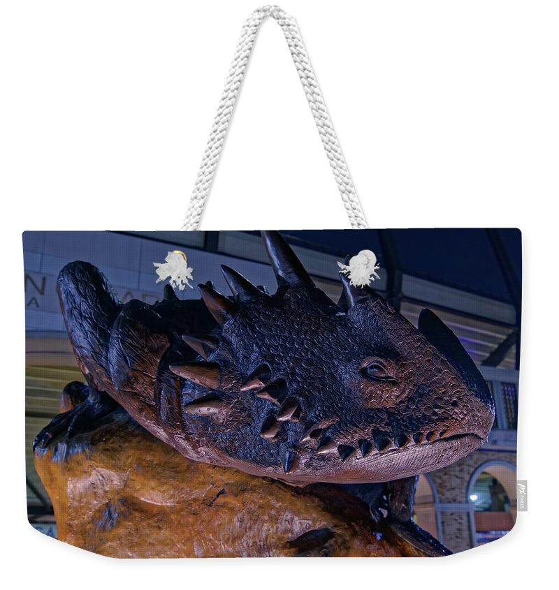 Tcu Weekender Tote Bag featuring the photograph Tcu Frog Mascot by Jonathan Davison