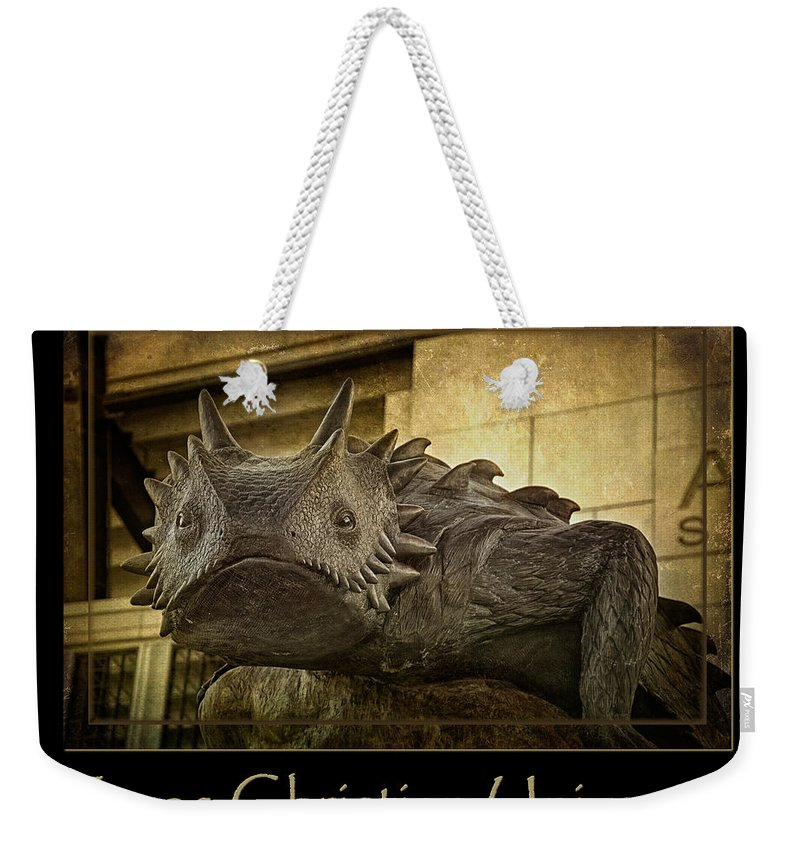 Joan Carroll Weekender Tote Bag featuring the photograph Tcu Frog Poster 2015 by Joan Carroll