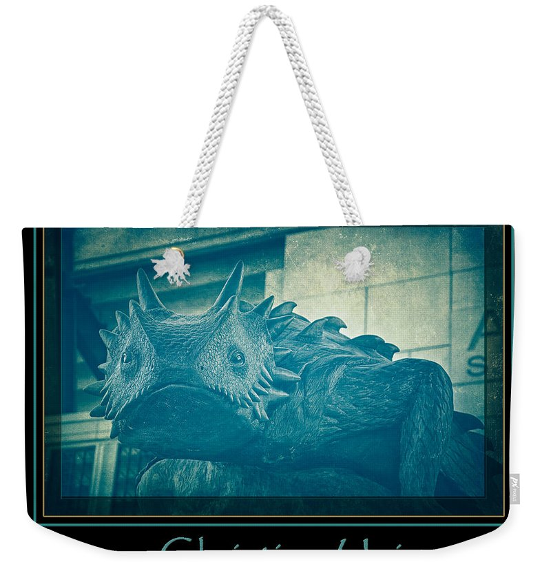 Joan Carroll Weekender Tote Bag featuring the photograph Tcu Horned Frog Blue Poster by Joan Carroll